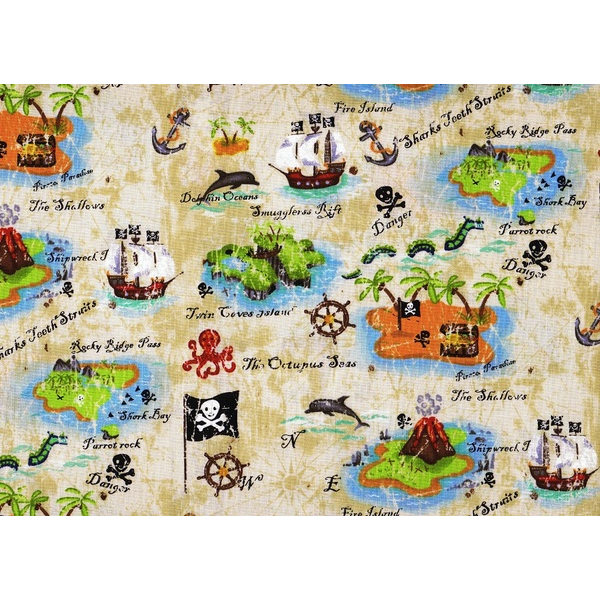 Dragonfly fabrics pirates treasure map for Kids pirate fabric